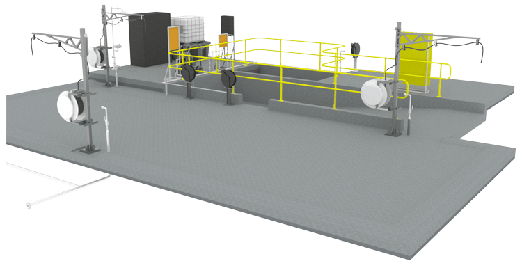 Mechanical and Structural Design of Light Vehicle Autowash Station for mine site.